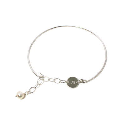 Wholesale Sterling Silver Adjustable Initial Bangle Bracelet with Freshwater Pearl Charm