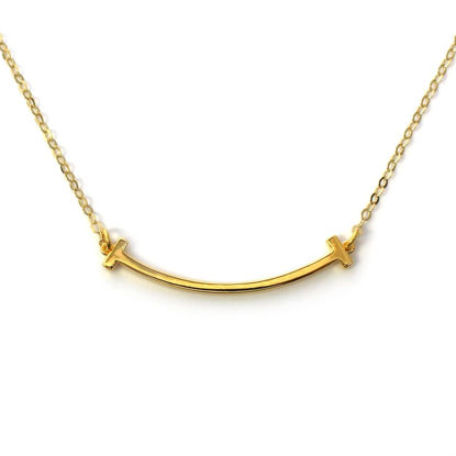 Wholesale Gold Over Sterling Silver Smile Bar Necklace - 18""