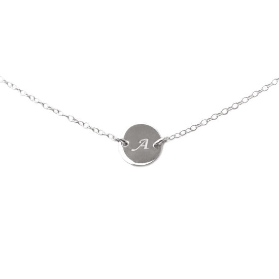 Wholesale Sterling Silver Initial Charm Connector Necklace - 16""