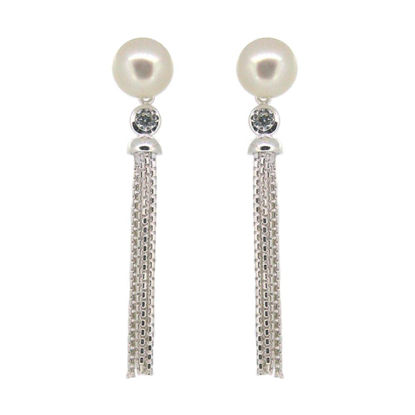 Wholesale Sterling Silver Freshwater Pearl and CZ Stone Tassel Earrings