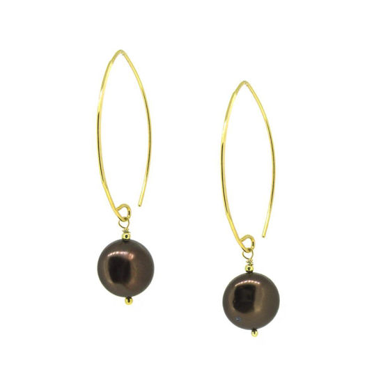Wholesale Gold Plated Sterling Silver Brown Shell Pearl Earrings