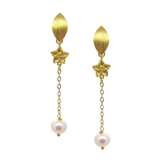 Wholesale Gold Over Sterling Silver Long Marquise Flower Freshwater Pearl Earrings