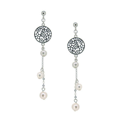 Wholesale Sterling Silver Filigree Flower Pearl Dangle Earrings