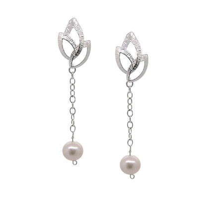 Wholesale Sterling Silver Textured Leaves and White Freshwater Pearl Dangle Earrings