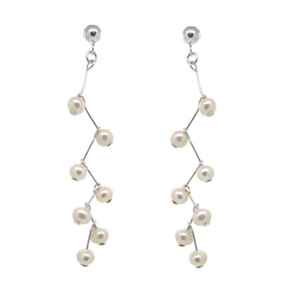 Wholesale Sterling Silver White Freshwater Pearl Branch Earrings