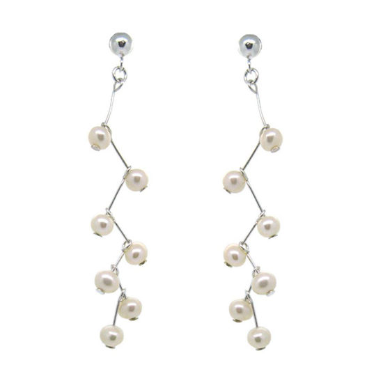 Wholesale Sterling Silver White Freshwater Pearl Branch Earrings