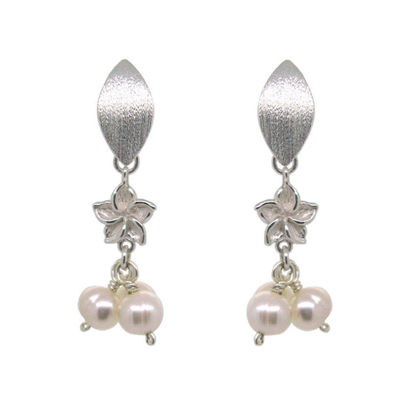 Wholesale Sterling Silver White Freshwater Pearl Trio Flower Earrings