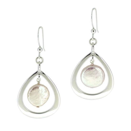 Wholesale Sterling Silver Teardrop Freshwater Pearl Coin Earrings