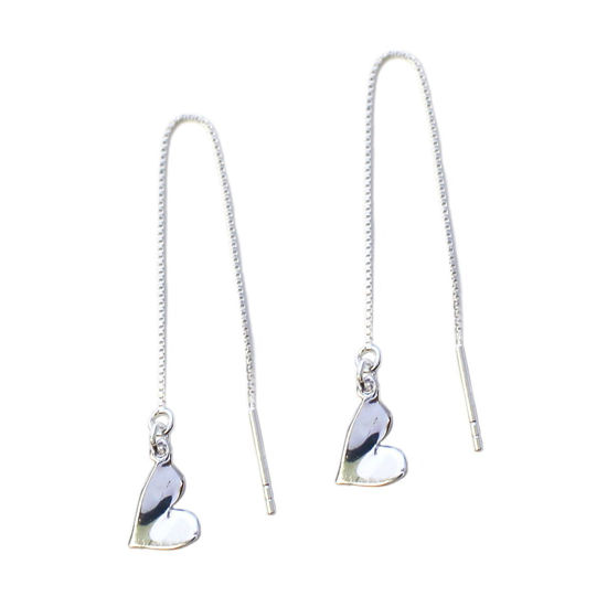 Wholesale Sterling Silver Heart Charm Threader Earrings (Sold Per Pair)