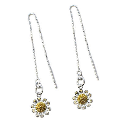 Wholesale Sterling Silver Two-Tone Sunflower Charm Threader Earrings (Sold Per Pair)