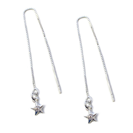 Wholesale Sterling Silver CZ Stone Star Charm Threader Earrings (Sold Per Pair)