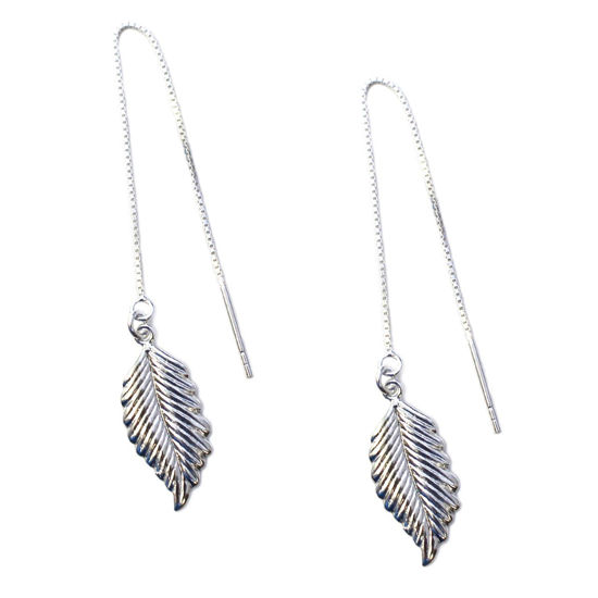 Wholesale Sterling Silver Feather Charm Threader Earrings (Sold Per Pair)