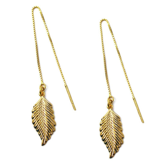 Wholesale Gold Over Sterling Silver Feather Charm Threader Earrings (Sold Per Pair)