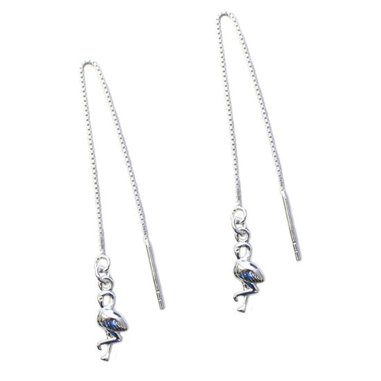 Wholesale Sterling Silver Flamingo Charm Threader Earrings (Sold Per Pair)