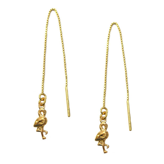 Wholesale Gold Over Sterling Silver Flamingo Charm Threader Earrings (Sold Per Pair)