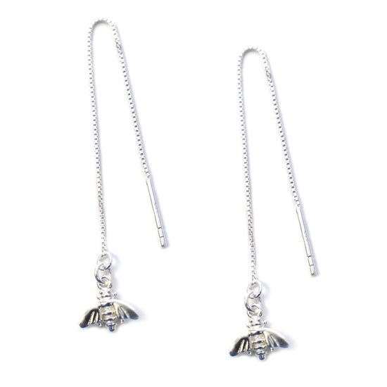 Wholesale Sterling Silver Bumblebee Charm Threader Earrings (Sold Per Pair)