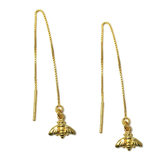 Wholesale Gold Over Sterling Silver Bumblebee Charm Threader Earrings (Sold Per Pair)