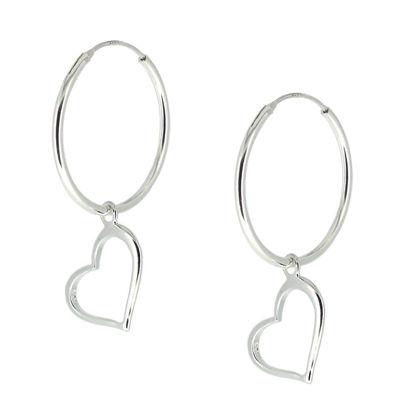Wholesale Sterling Silver Heart Charm Hoop Earrings (Sold Per Pair)