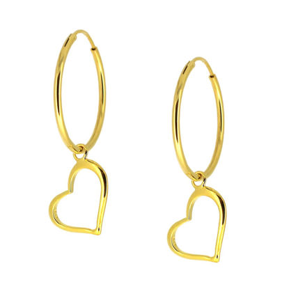 Wholesale Gold Over Sterling Silver Heart Charm Hoop Earrings (Sold Per Pair)