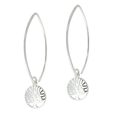 Wholesale Sterling Silver Tree of Life Charm Marquise Earrings (Sold Per Pair)