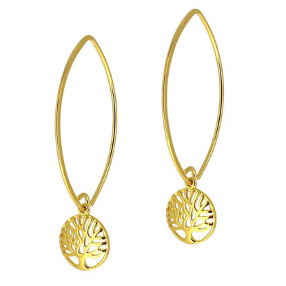 Wholesale Gold Over Sterling Silver Tree of Life Charm Marquise Earrings (Sold Per Pair)