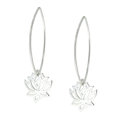 Wholesale Sterling Silver Lotus Flower Charm Marquise Earrings (Sold Per Pair)