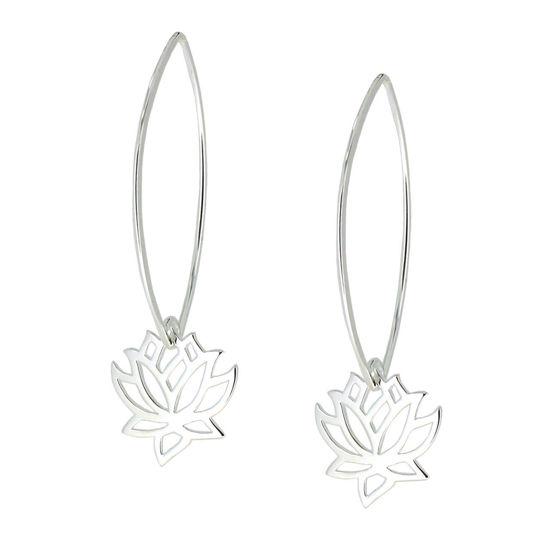 Wholesale Sterling Silver Lotus Flower Charm Marquise Earrings (Sold Per Pair)
