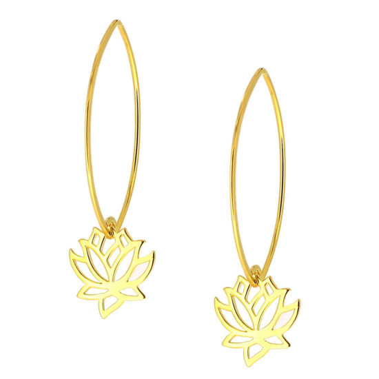 Wholesale Gold Over Sterling Silver Lotus Flower Charm Marquise Earrings (Sold Per Pair)