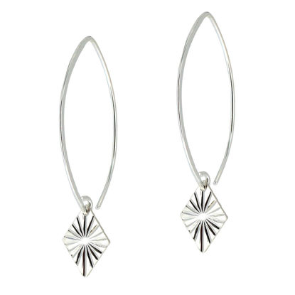 Wholesale Sterling Silver Textured Diamond Charm Marquise Earrings (Sold Per Pair)