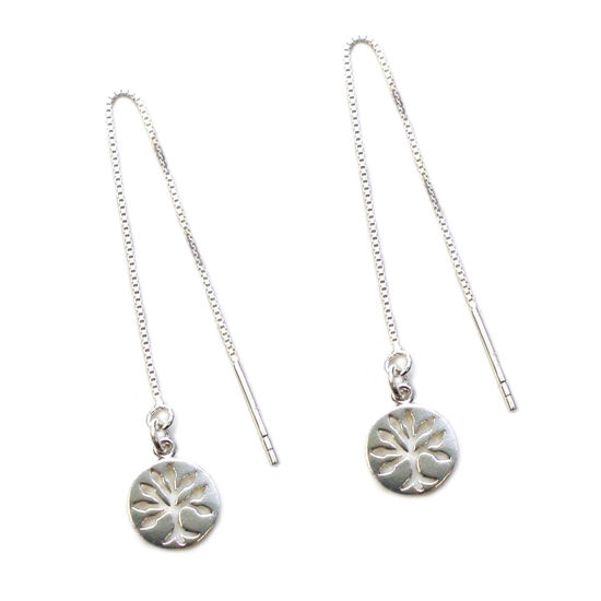 Wholesale Sterling Silver Tree of Life Charm Threader Earrings (Sold Per Pair)