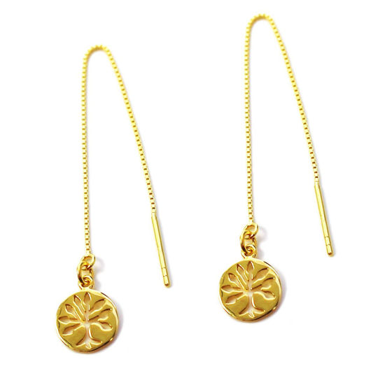 Wholesale Gold Over Sterling Silver Tree of Life Charm Threader Earrings (Sold Per Pair)