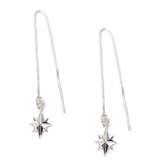 Wholesale Sterling Silver North Star Charm Threader Earrings (Sold Per Pair)