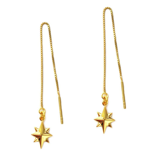Wholesale Gold Over Sterling Silver North Star Charm Threader Earrings (Sold Per Pair)