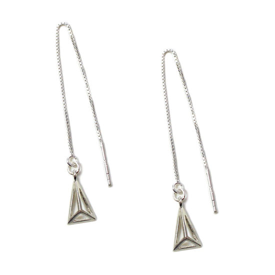 Wholesale Sterling Silver Hollow Pyramid Charm Threader Earrings (Sold Per Pair)