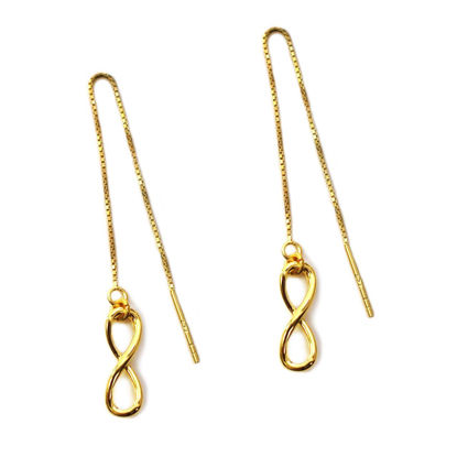 Wholesale Gold Over Sterling Silver Infinity Charm Threader Earrings (Sold Per Pair)