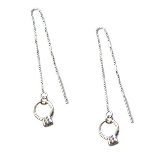 Wholesale Sterling Silver Promise Ring Charm Threader Earrings (Sold Per Pair)