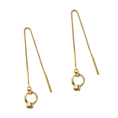 Wholesale Gold Over Sterling Silver Promise Ring Charm Threader Earrings (Sold Per Pair)