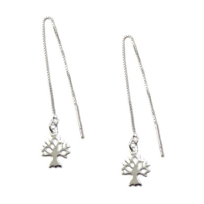 Wholesale Sterling Silver Tree Silhouette Charm Threader Earrings (Sold Per Pair)