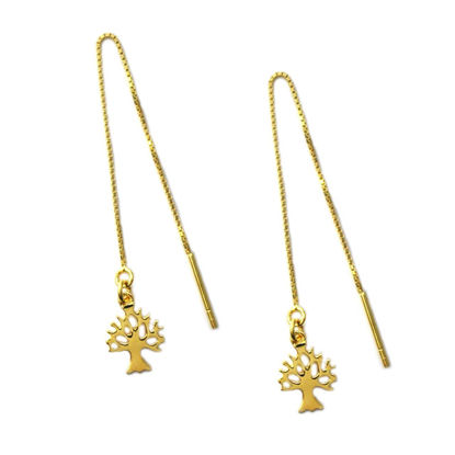 Wholesale Gold Over Sterling Silver Tree Silhouette Charm Threader Earrings (Sold Per Pair)