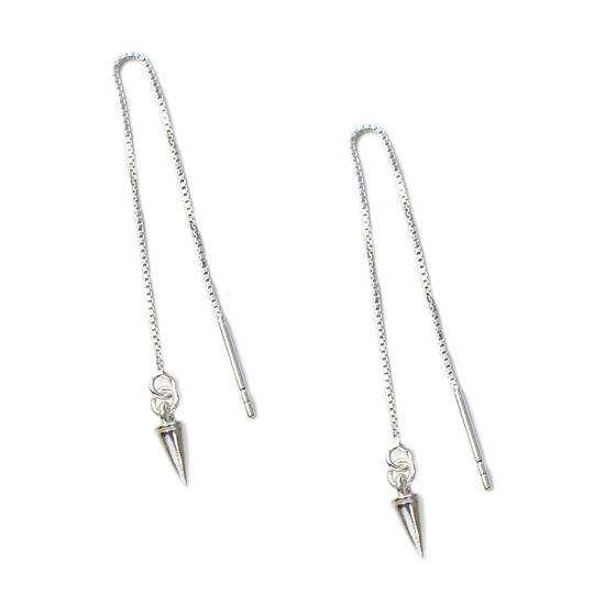 Wholesale Sterling Silver Spike Charm Threader Earrings (Sold Per Pair)