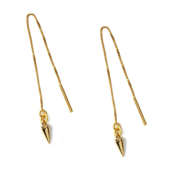 Wholesale Gold Over Sterling Silver Spike Charm Threader Earrings (Sold Per Pair)
