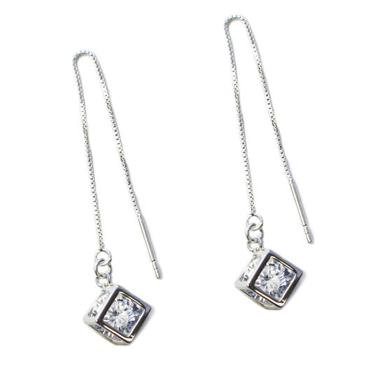 Wholesale Sterling Silver CZ Stone Cube Charm Threader Earrings (Sold Per Pair)
