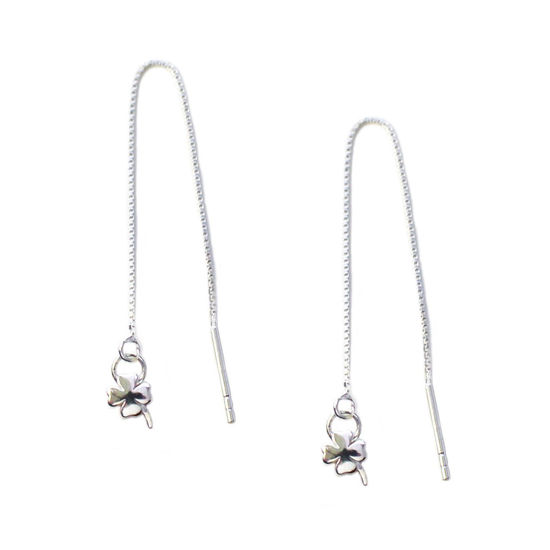 Wholesale Sterling Silver Shamrock Charm Threader Earrings (Sold Per Pair)