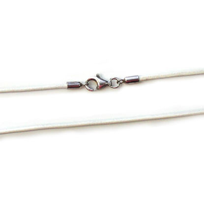 Wholesale White Leather Cord Necklace - 1.5mm