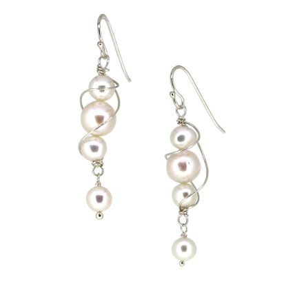 Wholesale Sterling Silver Teardrop Freshwater Pearl Swirl Dangle Earrings