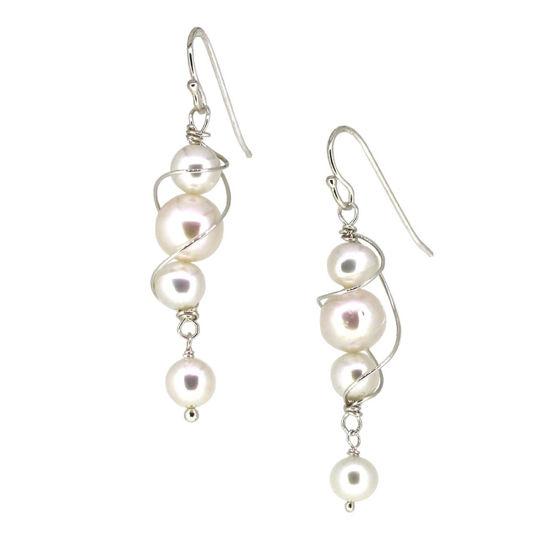 Wholesale Sterling Silver Teardrop Freshwater Pearl Swirl Dangle Earrings