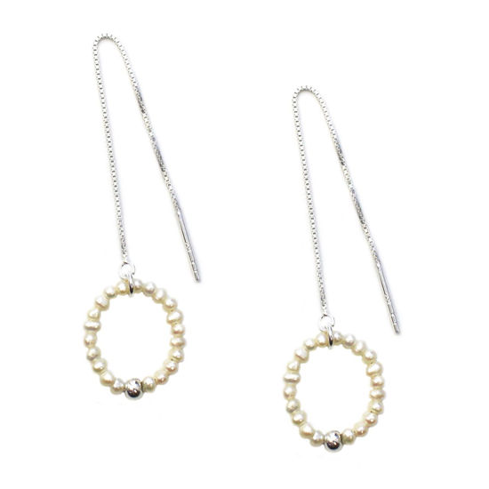 Wholesale Sterling Silver White Freshwater Pearl Circle Ear Threads