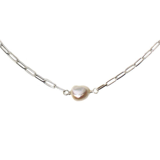 Wholesale Sterling Silver White Freshwater Pearl Long Box Chain Choker - 15""