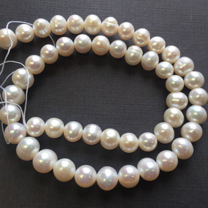 Wholesale Creamy Colored Freshwater Pearls, 8-9mm Potato Shape with Rings - June Birthstone (Sold Per Strand)