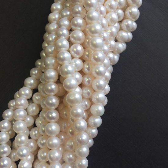 Wholesale White Freshwater Pearls, 6.5-7.5mm Off Round Grade A, June Birthstone (Sold Per Strand)